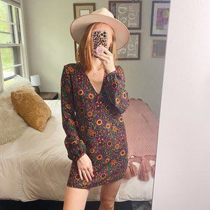 Zara Long Sleeve Retro Floral Shift Dress